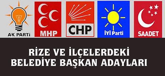 5 Partinin Rize ve İlçelerindeki Belediye Başkan Adayları