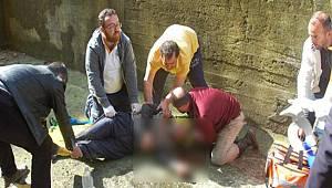 Rize'de Duvar Yaparken 4 Metre Yükseklikten Düşen Yaşlı Adam Yaralandı