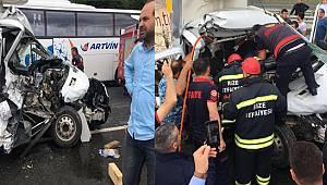 Rize'de Trafik Kazası 3 Yaralı. Araçta Sıkışanları Çıkarmak İçin Uzun Süre Uğraş Verdiler