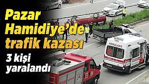 Pazar Hamidiye bölgesinde trafik kazası 3 yaralı