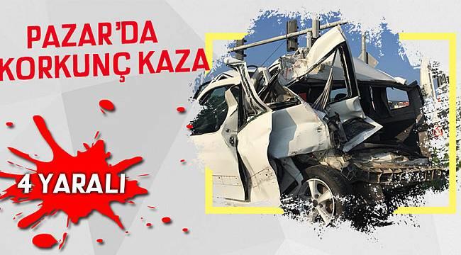 Pazar'da sabah saatlerinde korkunç kaza: 4 yaralı