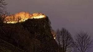 Rize'de Doğal Sit Alanı Ayane Tepesinde Örtü Yangını