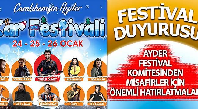 Ayder Kar Festivali öncesi tertip komitesinden açıklama