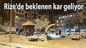 Rize'de beklenen kar geliyor