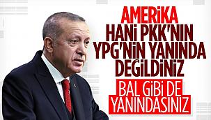 Erdoğan'dan ABD'ye tepki: Bal gibi de PKK'nın yanındasınız