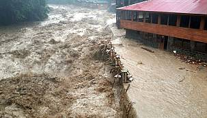 Rize'de sağanak nedeniyle dereler taştı, tarım arazileri ve yollarda hasar oluştu